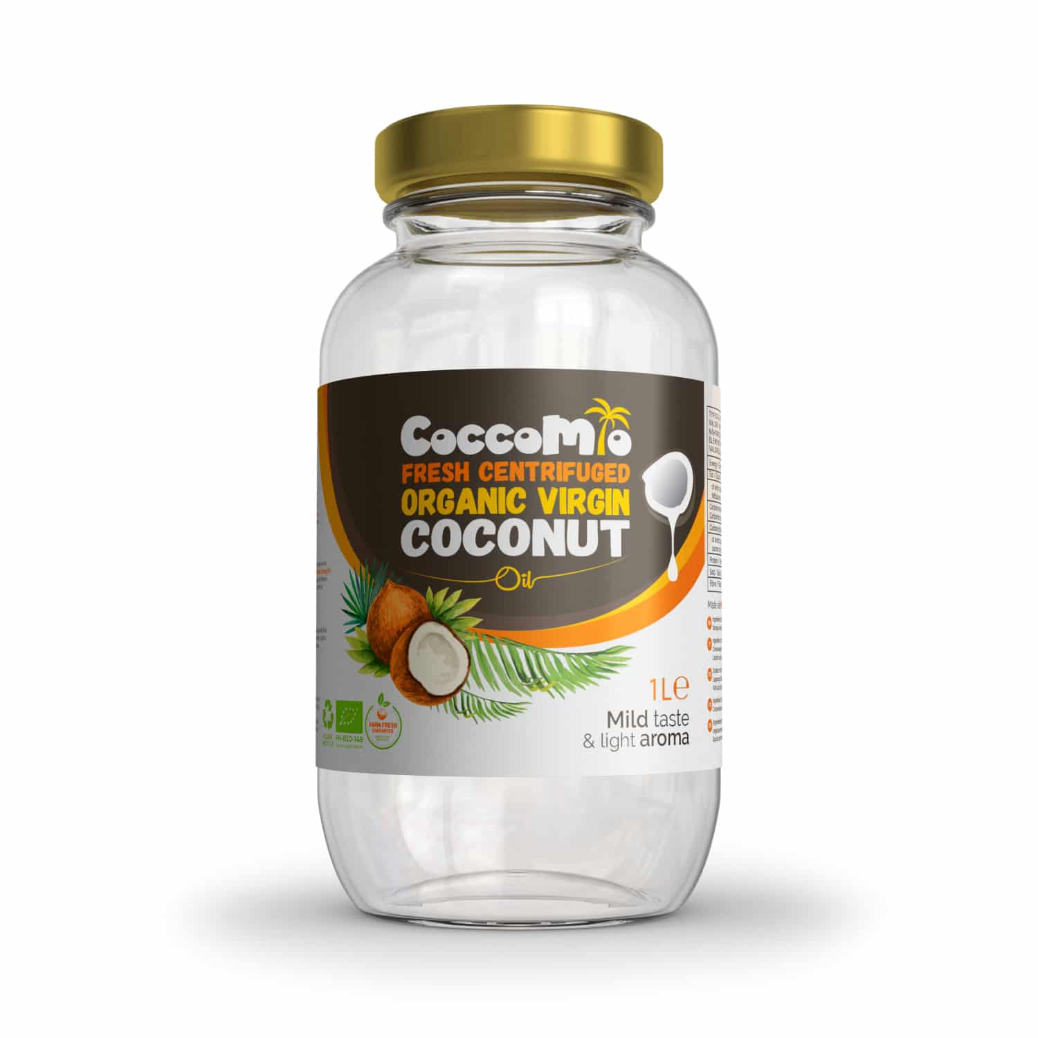 CoccoMio Fresh Centrifuged Organic Virgin Coconut Oil 1L Jar