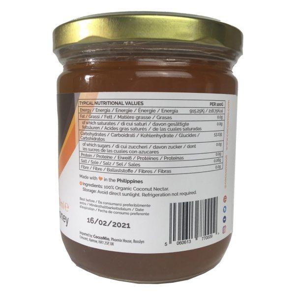 CoccoMio Organic Coconut Nectar Nutritional Label 400ml