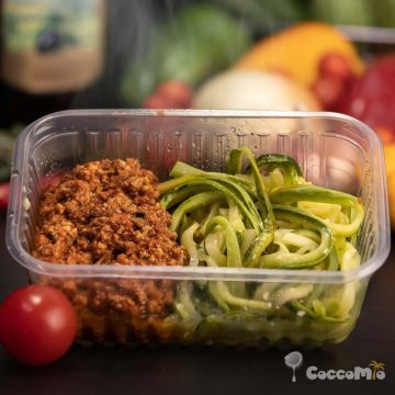 CoccoMio Raw Spiralized Zucchini Spaghetti with Tomato Sauce Recipe Square